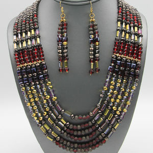 Layered Red Gold Glass Bead Necklace Earring